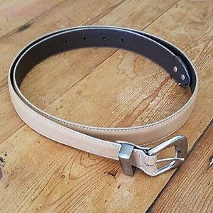 Eddie Bauer Cream Harness Leather Belt